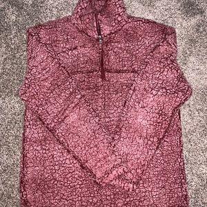 Fuzzy pink quarter zip